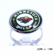Minnesota Wild Ring Ice Hockey Charms NHL Sport Jewlery Round Glass Dome Silver Plated  Ring For Women Girl Adjustable