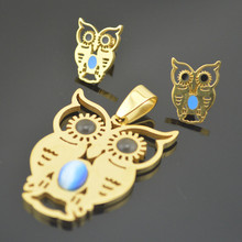 SS041 Crystal  Gold Owl Love Heart Honey Animal Teddy  Jewelry Set Gift Stainless Steel Earring Studs Pendant Necklace