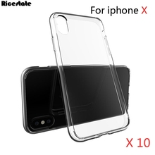 10 Pcs Transparent Case For iPhone X iphoneX Luxury Ultra Thin Clear Crystal Rubber Acrylic TPU Soft Case For iPhone X Cover bag