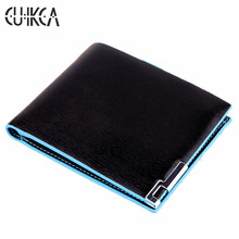 CUIKCA New Fashion Brand Wallet Men Wallet Waterproof Leather Blue Edge Iron Included Angle Men Purse ID & Card Holders 007