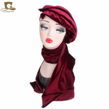 New Luxury Womens Velvet Turban Cap With Scarf Head wrap Muslim Hijab Headband Multi Function Soft Extra Long Tube Headwrap Tie(China)