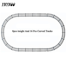 YNYNOO 24 Pieces Railroad Train Tracks Building Blocks Toys for Train Straight & Curved Tracks To Make One Circle As Train Track