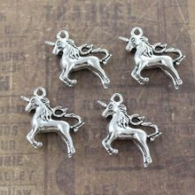 10 Pcs DIY Unicorn Charms Unicorn Pendants Antiqued Silver Tone Craft Making Jewelry Decoration 3D Making Handmade Accessories(China)