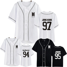 New Kpop BTS Bangtan Boys new logo SUGA JIN V The Same unisex Baseball Cardigan Summer Short Sleeve Tshirt(China)