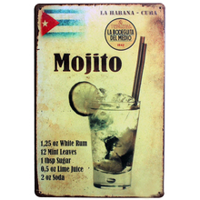 Mojito Drink Metal Decor Sign Vintage Plaque Cocktail Board for Hotel Music Bar Restaurant for wll art painting LJ3-6 20x30cm B1