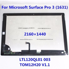 New 2160*1440 For Microsoft Surface Pro 3 (1631) TOM12H20 V1.1 LTL120QL01 003 LCD Display Touch Screen Digitizer Assembly Panel
