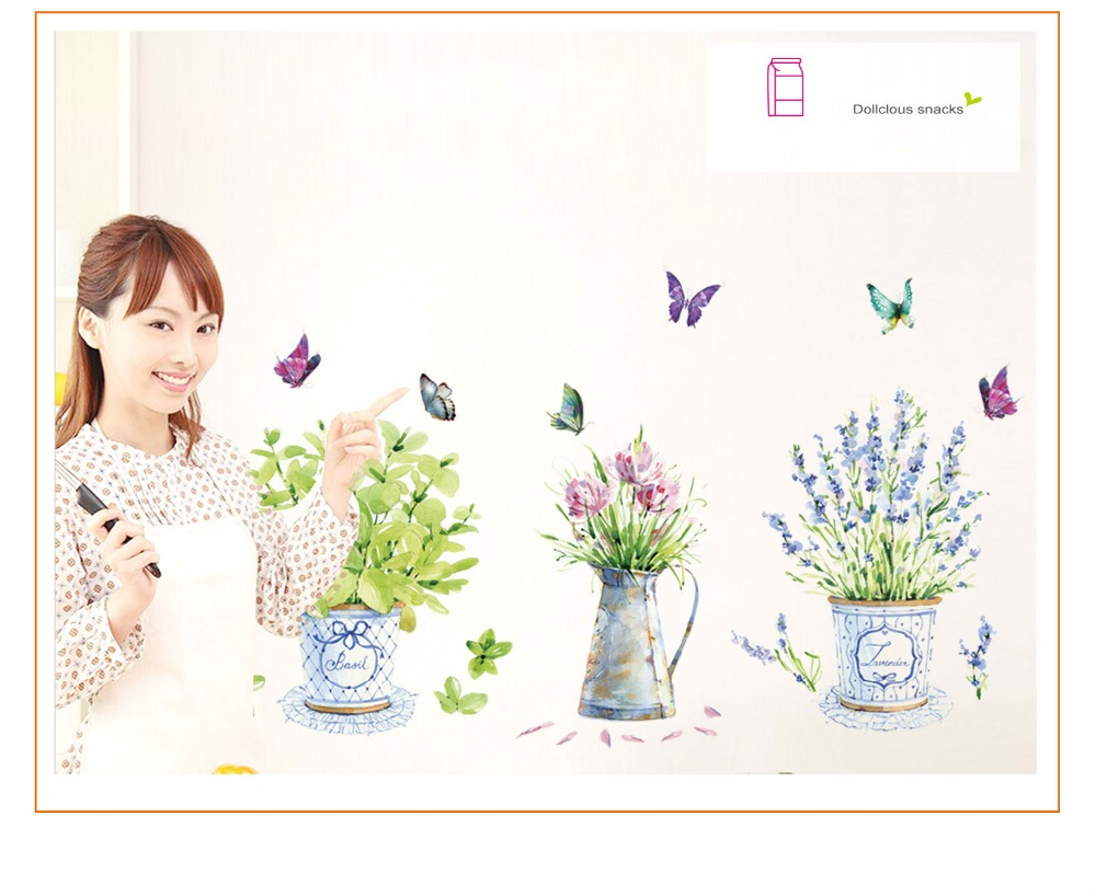 HTB1yVKndbsTMeJjy1zeq6AOCVXam - DIY wall stickers home decor potted flower pot butterfly kitchen window glass