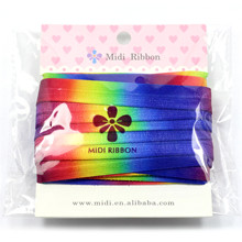 "5/8""16mm Rainbow Printed Fold Over Elastic Ribbon Gradient Stretch Ribbon DIY handmade hair accessories bows 10 yards HT0104779"