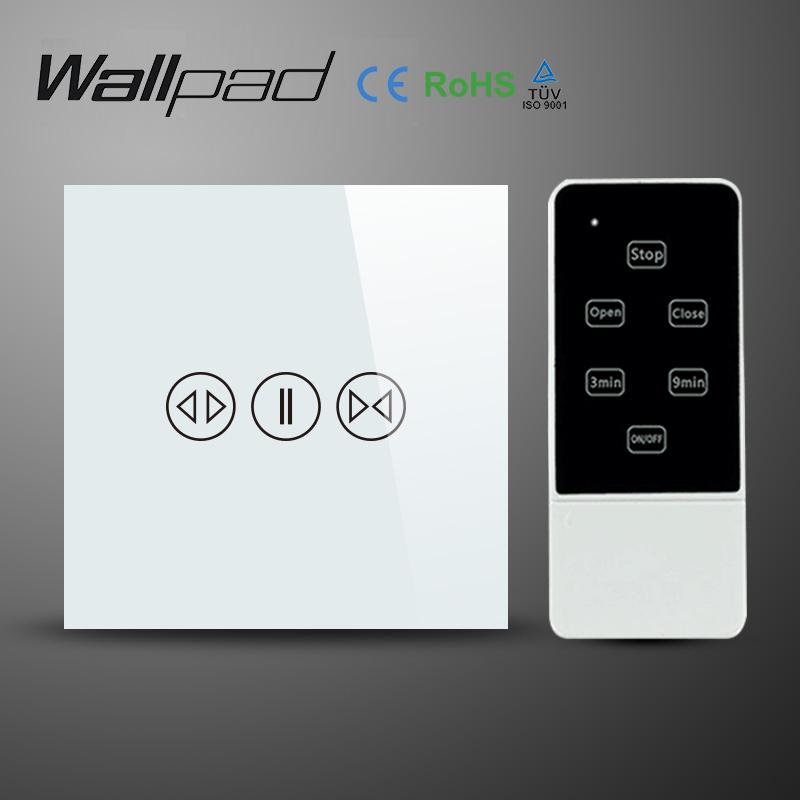 Wallpad White Luxury Galss Panel EU UK Remote Control Smart Electric Touch Curtain Wall Switch With LED indicator Blue Backlight<br><br>Aliexpress