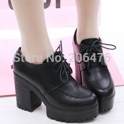 Womens pumps!New 2014 womens spring shoes high heels single shoes thick heel platform shoes black high-heeled shoes <br><br>Aliexpress