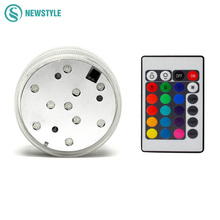 RGB Submersible LED Underwater Light IP68 Waterproof Swimming Pool LED Lamp Battery Operated Remote Control for Party 10pcs