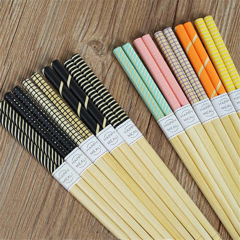 DoreenBeads Japan Style Eco-friendly Printed Bamboo Chopsticks Geometric Patterns For Lovers Sisters Kids Girl 22.5 CM 5 Pairs