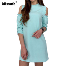 Missufe Casual Loose Off Shoulder Autumn Dress Ruffles Solid Clothing For Women Cut Out Sleeve Mini A Line Dresses 2017 Vestido