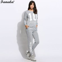 Women Tacksuit Set Casual Letter Print Pullover Sweatshirt Pants Set Long Sleeve Tracksuit Loungewear Joggers 2017(China)