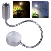 2pcs/lot Silver Flexible Hose LED Modern Wall Lamp 3W Flexible Arm Light Lamp Bedside Reading Light Study Painting Wall Light
