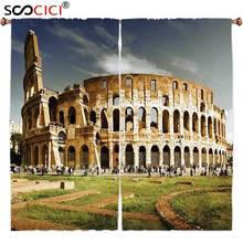 Window Curtains Treatments 2 Panels,Inspirational Italy The Colosseum Decor Famous Monument and Old Picture Green Ivory and Blue(China)