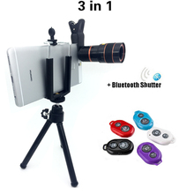 3in1 Lentes 8x Zoom Telephoto Lens Phone Camera Lenses Tripod Bluetooth Shutter For iPhone 5s 6 Samsung Xiaomi Huawei Asus LG(China)