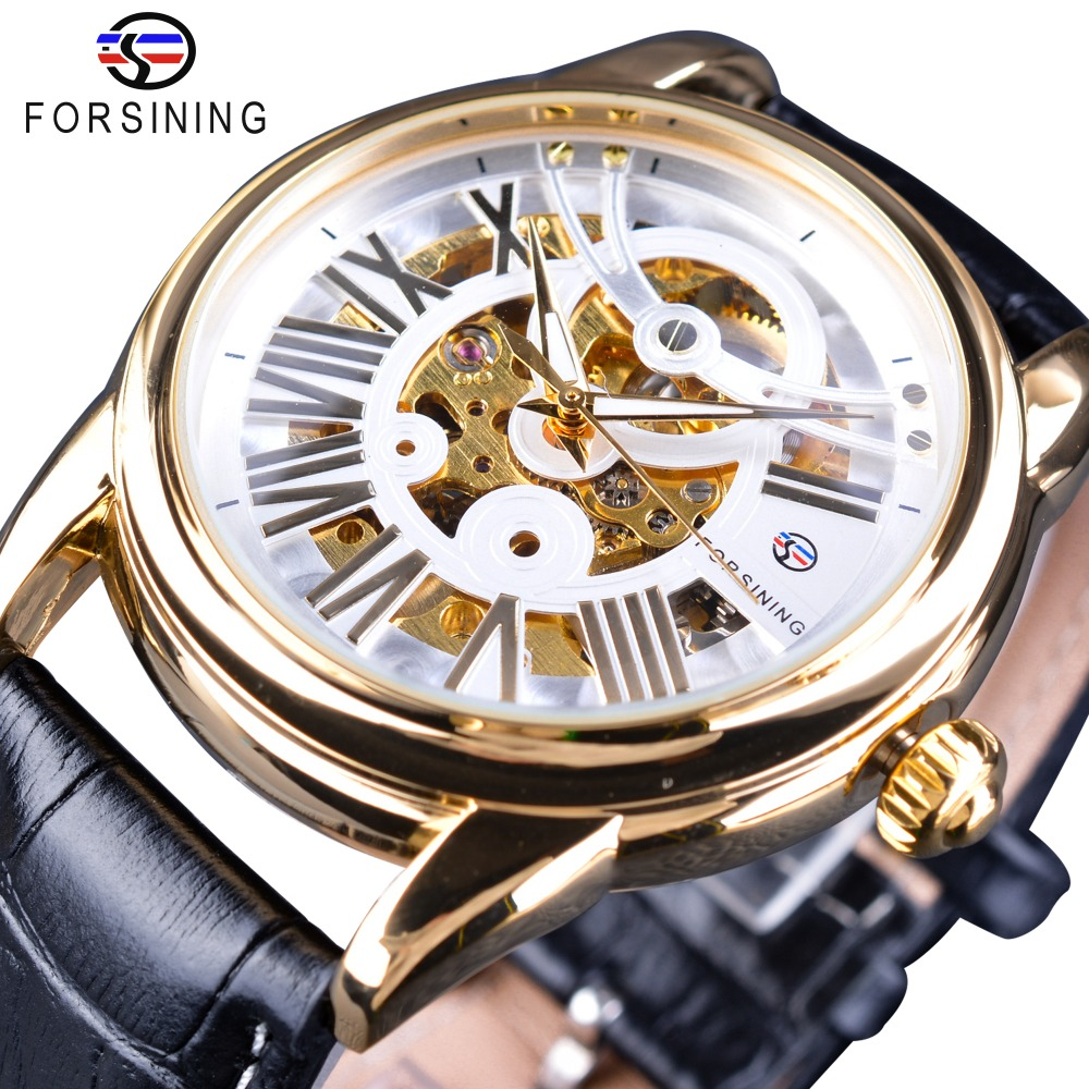Forsining  Official Exclusive Sale Limited Men Golden Bezel Genuine Leather Belt Mens Automatic Skeleton Watch Top Brand Luxury <br>