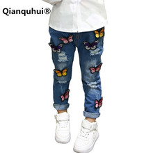 Qianquhui Autumn Winter European Cross Hole Kids Pants Cartoon Butterfly Baby Girls Denim Beautiful Fashion Blue Jeans Leggings(China)