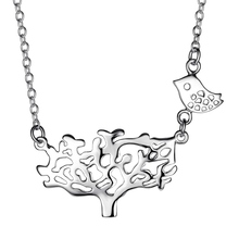 Fashion Necklaces Pendants tree bird silver Women jewelry SAY