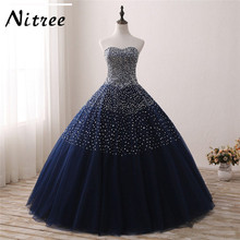 Luxury Sparkly Bling Blue Navy Quinceanera Dresses 2017 New Sleeveless Ball Gown Formal Dress of Party Dresses 15 Anos