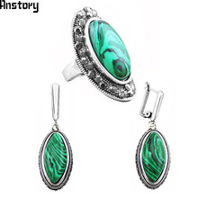 Oval Malachite Jewelry Sets Earrings Rings For Women Vintage Antique Silver Plated Wedding Bridal Gift TS225(China)