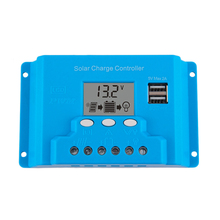 10A 20A 30A 12V 24V intelligence Solar cells Panel Battery Charge Controller Regulators LCD 5V USB voltage adjustable