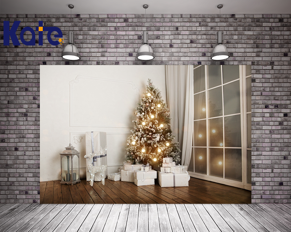 Kate Christmas Backgrounds For Photo Studio White Wall Wood Floor For Children Backdrop Christmas Tree Backdrops<br>