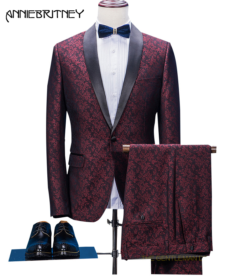 2018 New Brand Burgundy Pattern Men Suit Formal Floral Slim Fit Marriage Groom Blazer Prom Gentle Tuxedo 2 Piece Terno Masculino