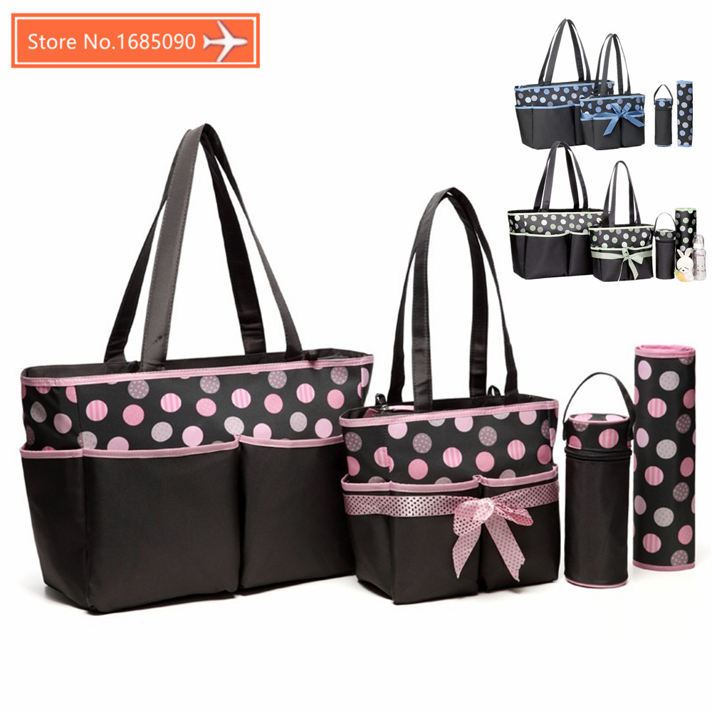 5 Pieces Set Fashion Mother Bag Diaper Bags For Mom Baby Large Capacity Nappy Bags Organizer Stroller for Maternity FREE SHIPPIN<br>