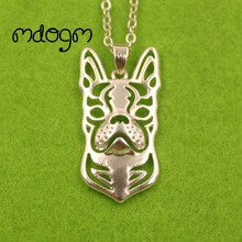 2017 Cute Boston Terrier Necklace Dog Animal Pendant Gold Silver Plated Jewelry For Women Male Female Girls Ladies Boys N152(China)