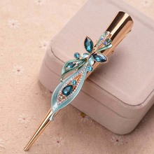 Retro Crystal Flower Butterfly Hair Clip Women Classic Plated Exaggerated Large Metal Hair Claw Hair Accessories