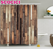 Wooden Shower Curtain Set Brown Old Hardwood Floor Plank Grunge Lodge Garage Loft Natural Rural Graphic Artsy Print Fabric Bathr
