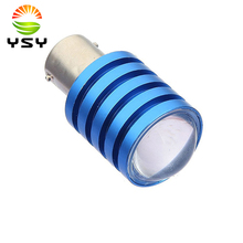 10pcs White 1156 BA15S / 1141 / 1076 Base 7W Bulb Led Turn Signal Light Bulbs Blue Shell DC 12V