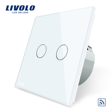Livolo EU Standard, Crystal Glass Panel, EU standard,AC220~250V, Wall Light Remote Touch Switch+LED Indicator,C702R-1/2/3/5(China)