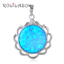 Cheap and cheerful Necklaces jewellery Round Blue Fire Opal Sterling Silver Pendants Australia OP600(China)