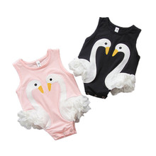 Newborn Baby Boutique Vintage Swan Romper Jumpsuit Girl Bloomer Lace Ruffled Romper Kids Costume Girls clothes Photography Props