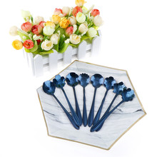 Blue Cherry Blossom Spoon Flower Shape Tea Coffee Spoons Ice Cream Spoon Flatware Kitchen Gadgets 1pcs Stainless Steel(China)