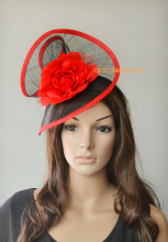 2017 NEW Red black sinamay fascinator hat with silk flower  for wedding,kentucky derby,races church.FREE SHIPPING.