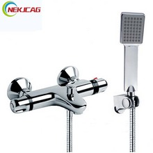Modern Bath Shower Faucet Set Single Lever Thermostatic Shower Mixer Tap Plastic Handheld Shower Wall Mounted with Bracket(China)