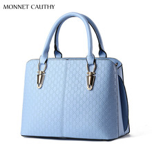 MONNET CAUTHY 2017 New Fashion Female Bags Solid Color Sky Blue Pink Beige Wine Red Totes Concise Elegant Office Ladies Handbags