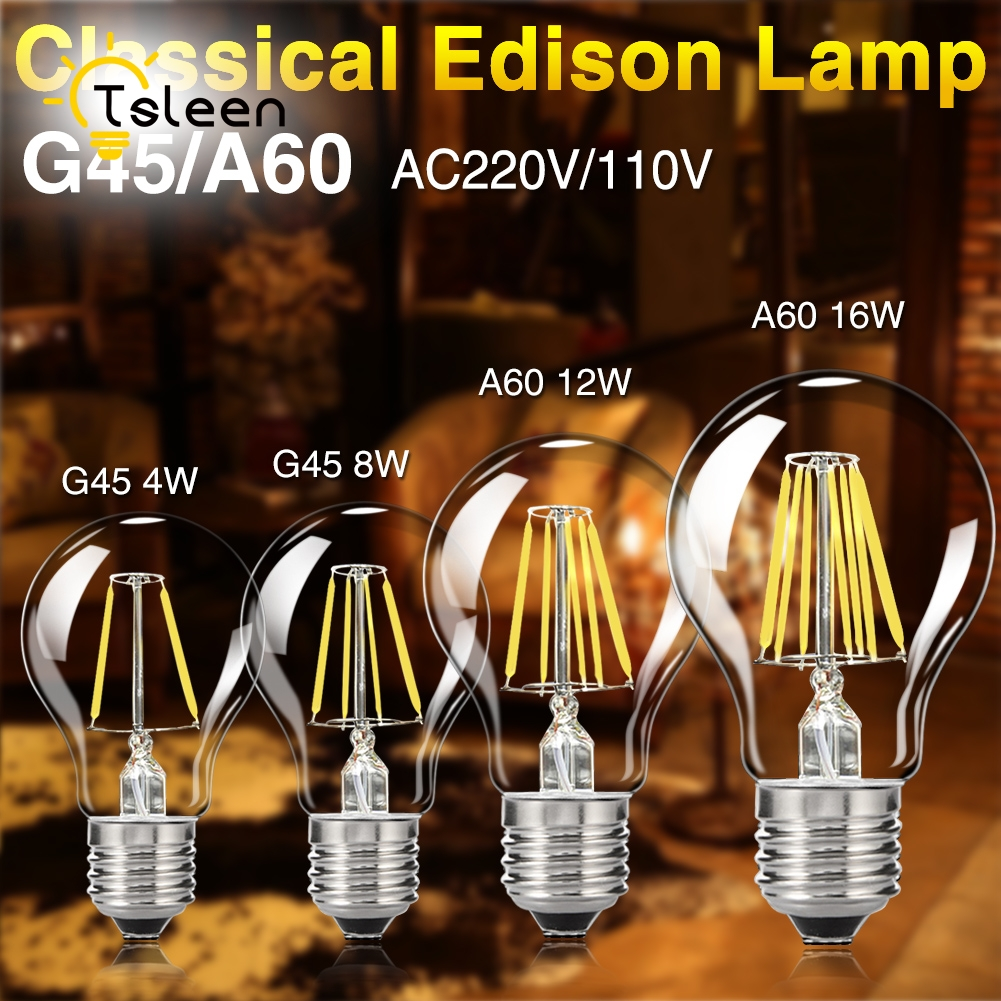 TSLEEN 10Pieces LED Bulb 110V E27 Retro Lamps 220V LED Filament Light Bombillas LED Light Edison 4W 8W 12W 16W
