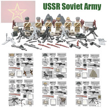 WW2 Soviet Army Mini Toy Figures Russian National Army The Battle of Moscow Anti Fascist Building Blocks Set with Weapons D164