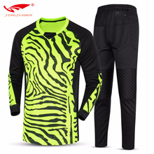 2017 Men Kids Soccer Goalkeeper Uniforms Suit Sponge Comprehensive Protector  Doorkeepers Shirt And Trousers Training Sets Suits
