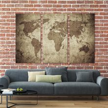 Wall Art Canvas Painting Vintage Travel World Map Painting Contemporary Pictures Modern Artwork Prints on Canvas No Framed