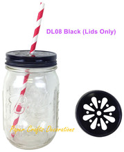 10pcs (Lids Only) Black Regular Mouth Daisy Cut Drinking Mason Jar Lids For Straws or Teal lights Wedding Birthday Party Favors(China)
