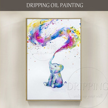 High Skills Artist Hand-painted High Quality Modern Animal Elephant Baby Oil Painting on Canvas Colorful Elephant Oil Painting