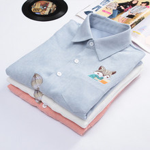 Dioufond 2017 New Women Embroidery Print Fox Shirts Female Casual Cute Blouses Long Sleeve Shirt Turn Down Collar Ladies Tops