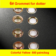 6# Colorful Yellow Iron Grommet Eyelet  for Manual Eyelet Puncher  Hand Press Puncher Grommet for Flex Banner 500set/pack