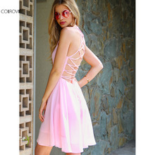 COLROVIE Lace Up Back Summer Dress Women Pink Sexy Cut Out Cute Skater Party Dresses 2017 Fashion A Line Draped Club Cami Dress